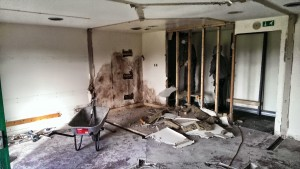 Internal walls removed, a good sized space for gym equipment is starting to emerge